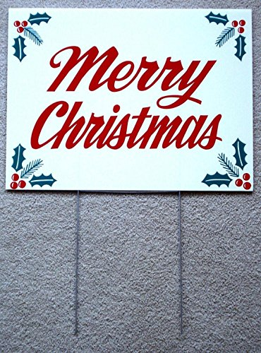 1-Pc-Awe-inspiring-Modern-Holly-Merry-Christmas-Yard-Sign-Plastic-Coroplast-Outdoor-Decal-Home-Decor-Size-18-x-24-with-Stake-0
