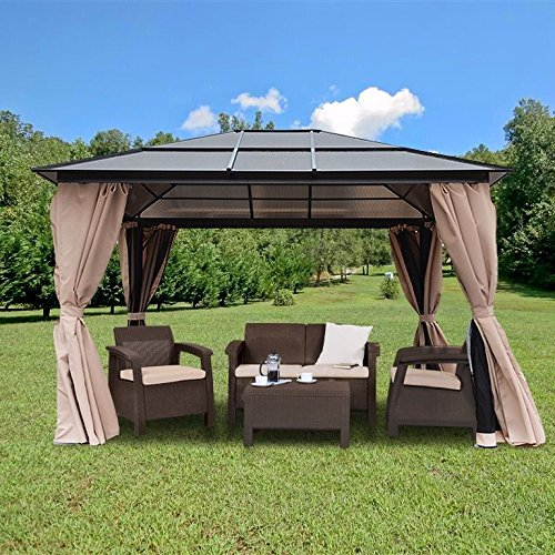 10-x-12-Hard-Roof-Patio-Gazebo-Aluminum-Poles-Heavy-Duty-Structure-0