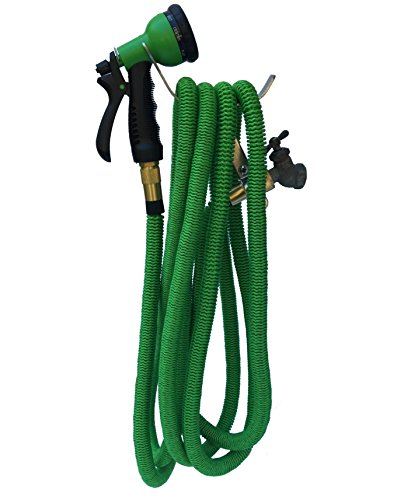 100-FOOT-Green-Expanding-Garden-Hose-NEW-2016-Design-Strongest-Expandable-Hose-DOUBLE-LAYER-Latex-Core-SOLID-BRASS-Fitting-TOUGH-Nylon-Fabric-Spray-Nozzle-STAINLESS-STEEL-Holder-0-0