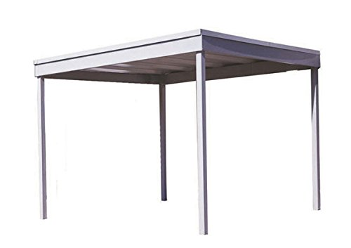 10×10-Ft-Free-Standing-CarportPatio-CoverEggshell-FinishFlat-roof-0