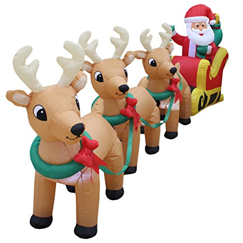 12-Foot-Long-Lighted-Christmas-Inflatable-Santa-Claus-on-Sleigh-with-3-Reindeer-and-Christmas-Tree-Yard-Decoration-0-0