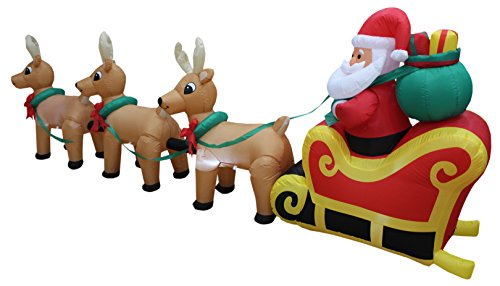 Foot long lighted christmas inflatable santa claus on