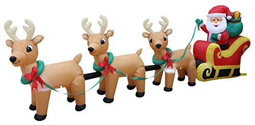 12-Foot-Long-Lighted-Christmas-Inflatable-Santa-Claus-on-Sleigh-with-3-Reindeer-and-Christmas-Tree-Yard-Decoration-0