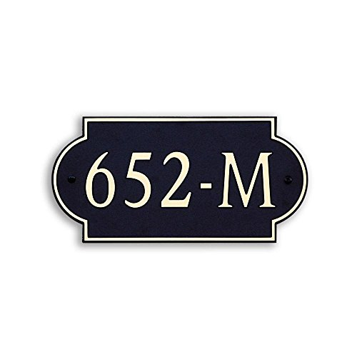 12-L-x-6-W-Medium-Designer-Shape-Custom-Plastic-Address-Plaque-Copper-on-Black-0