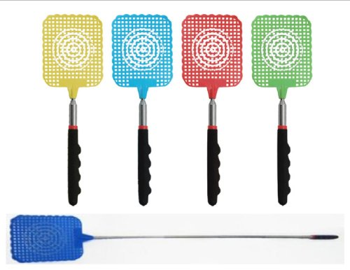 12-Pack-VAS-Who-Let-The-Bugs-Out-Cushioned-Grip-Extendable-Fly-Swatter-3-Each-Color-0-1