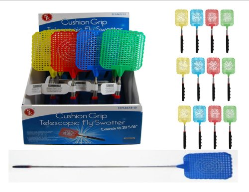 12-Pack-VAS-Who-Let-The-Bugs-Out-Cushioned-Grip-Extendable-Fly-Swatter-3-Each-Color-0
