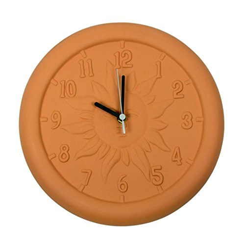 12u2033 Terra Cotta Embossed Sun Indoor Or Outdoor Wall Clock.