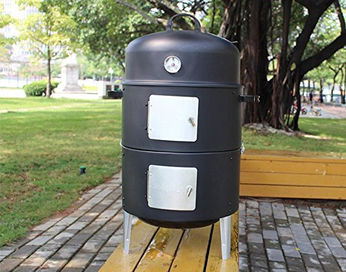 17-Black-Steel-Multi-functional-BBQ-Charcoal-Grill-Smoker-with-BBQ-Cooking-Accessories-Cold-Smoke-Generator-Meat-Smoking-Wood-Chips-0-0