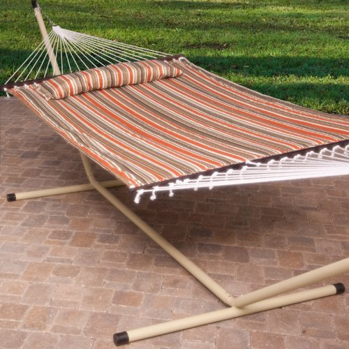 2-Person-Free-Standing-Hammock-13-Ft-Sienna-Stripe-Quilted-Hammock-with-Steel-Stand-Pillow-0-0