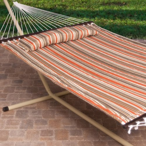 2-Person-Free-Standing-Hammock-13-Ft-Sienna-Stripe-Quilted-Hammock-with-Steel-Stand-Pillow-0