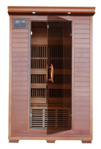 2-Person-Sauna-FIR-FAR-Infrared-6-Carbon-Heaters-Red-Cedar-Wood-CD-Player-MP3-Aux-Color-Light-Therapy-Heatwave-Yukon-0