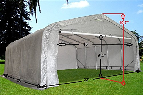 20x22-Carport-GreyWhite-Waterproof-Storage-Canopy-Shed-Car-Truck-Boat-Garage-By-DELTA-Canopies-0-0