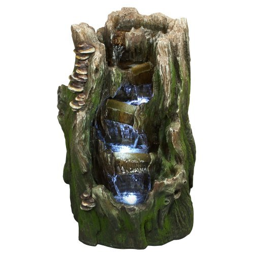22-Cypress-Log-IndoorOutdoor-Water-Feature-Tiered-Garden-Fountain-for-Gardens-Patios-Hand-crafted-Design-Weather-Resistant-Resin-wLED-Lights-0