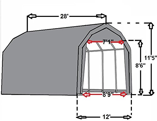 28x12-Carport-GreyWhite-Garage-Storage-Canopy-Shed-Car-Truck-Boat-Carport-By-DELTA-Canopies-0-0