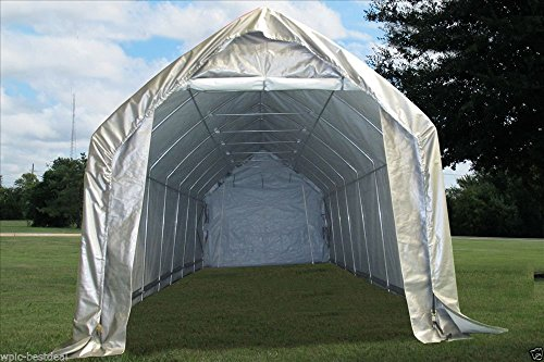 28x12-Carport-GreyWhite-Garage-Storage-Canopy-Shed-Car-Truck-Boat-Carport-By-DELTA-Canopies-0