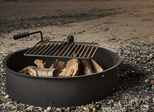 32 Steel Fire Ring With Cooking Grate Campfire Pit Park