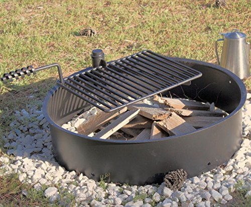 32-Steel-Fire-Ring-with-Cooking-Grate-Campfire-Pit-Park-Grill-BBQ-Camping-Trail-0