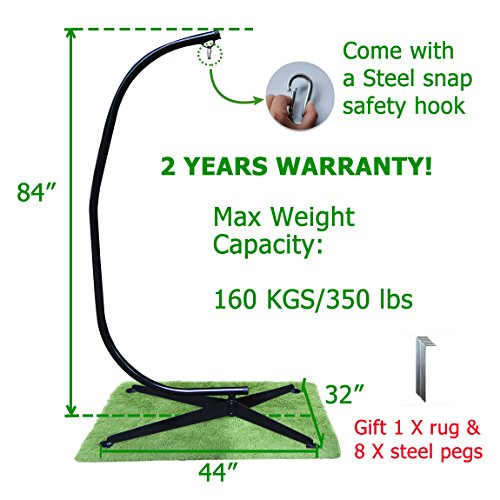 350-lbs-Max-Weight-Capacity-Zupapa-Heavy-Durable-Steel-C-Hammock-Frame-Stand-84-Total-Height-Works-with-most-air-Chairs-Come-with-a-Steel-snap-safety-hook-Pegs-Rug-Price-off-Promotion-0