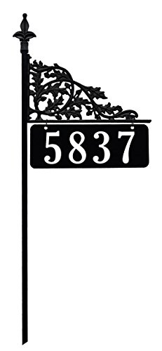 48-Oak-Reflective-911-Home-Address-Sign-for-Yard-Custom-Made-Address-Plaque-Wrought-Iron-Look-Exclusively-By-Address-America-Great-Gift-for-Parents-and-Grandparents-0