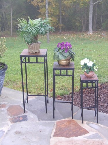4D-Concepts-3-Piece-Slate-Square-Plant-Stands-with-Slate-Tops-Metal-Slate-0-0