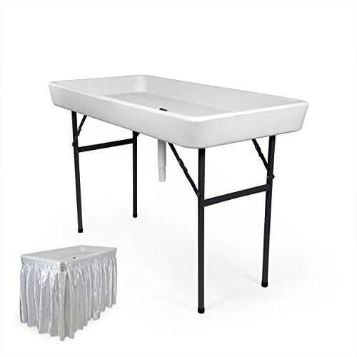 6 foot cooler ice table party ice folding table with matching skirt white farm garden. Black Bedroom Furniture Sets. Home Design Ideas