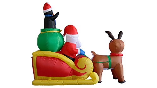 6-Foot-Long-Christmas-Inflatable-Santa-on-Sleigh-with-Reindeer-and-Penguins-Yard-Decoration-0-1