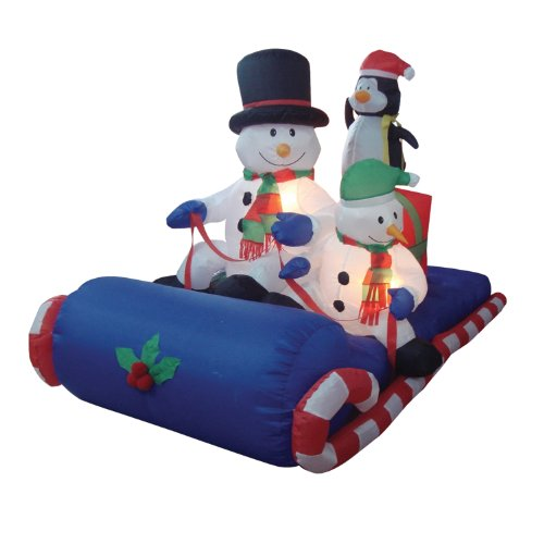 6-Foot-Long-Christmas-Inflatable-Snowman-Penguin-on-Sleigh-Yard-Decoration-0