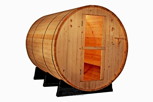 6-Ft-Canadian-Outdoor-RED-CEDAR-Barrel-Sauna-WET-DRY-SPA-4-Person-Size-0