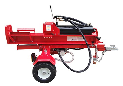 60 Ton, 15HP 420cc Hydraulic Gasoline Powered Log Wood Splitter Cutter  Machine, with Electric Start and Battery, 22GPM 2 Stage Pump and 4 Way