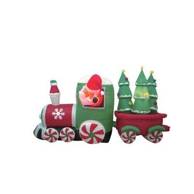 8-Foot-Long-Inflatable-Santa-Claus-Driving-Train-on-Candy-Wheels-Pulling-Christmas-Trees-0