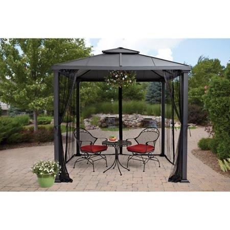 8-x-8-Durable-Metal-Sullivan-Ridge-Hard-Top-Gazebo-with-Netting-Black-0