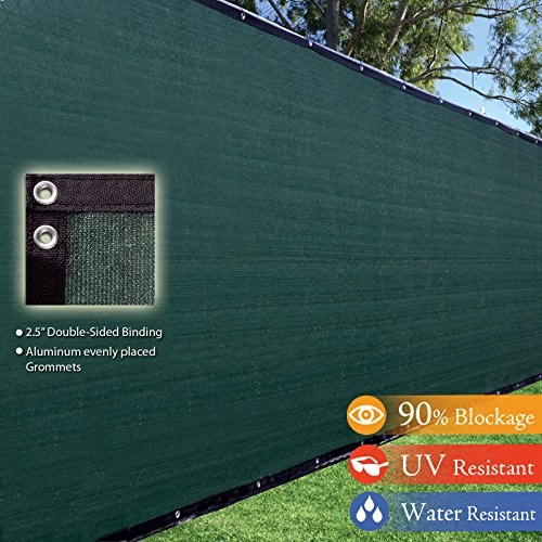 8x50-8ft-Tall-3rd-Gen-Olive-Green-Fence-Privacy-Screen-Windscreen-Shade-Cover-Mesh-Fabric-Aluminum-Grommets-Home-Court-or-Construction-0