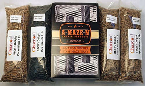 A-MAZE-N-Pellet-Smoker-5x8-BBQRs-Delight-Combo-Pack-Includes-1-Lb-Each-of-Jack-Daniels-Peach-Apple-and-Pecan-Pellets-0