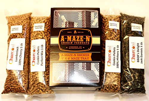 A-MAZE-N-Pellet-Smoker-5×8-Combo-Pack-Includes-1-pound-ea-of-Cookin-Pellets-Perfect-Mix-100-Hickory-1-Lb-BBQRs-Delight-Jack-Daniels-and-1-Lb-Lumber-Jack-100-Cherry-0