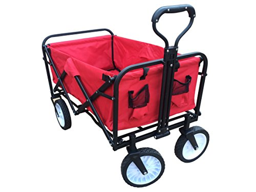 ABO-Gear-Collapsible-Folding-Utility-Wagon-Garden-Cart-Shopping-Buggy-Yard-Beach-Cart-Red-0