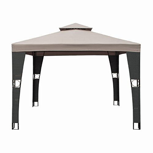 ALEKO-GAZM10X10BR-Double-Roof-10-X-10-Foot-Waterproof-Polyester-Patio-Gazebo-Picnic-Sun-Shade-Canopy-Brown-0