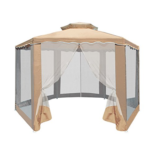 ALEKO-GZ2RWN6X6X6SD-Double-Roof-Hexagon-Patio-Gazebo-with-Netting-65-X-65-X-65-Feet-Sand-0-0