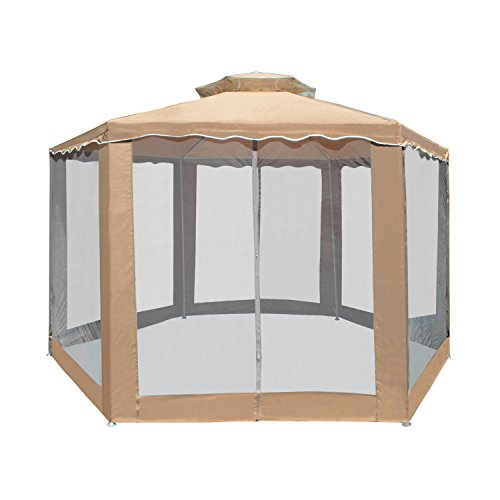 Aleko gz2rwn6x6x6sd double roof hexagon patio gazebo with for Hexagonal roof framing