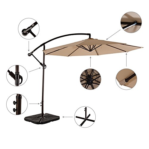 Amt 10 Feet Pa Coating Waterproof Cantilever Hanging Patio