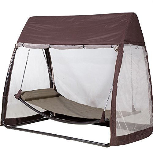 Abba-Patio-Outdoor-Canopy-Cover-Hanging-Swing-Hammock-with-Mosquito-Net-76x45x67-Ft-Chocolate-0