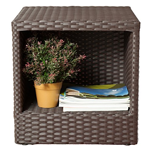 Abba Patio Outdoor Wicker Patio Square End Table Side