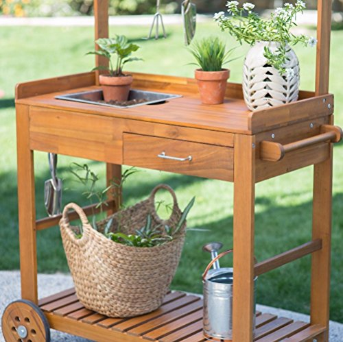 Acacia Wood Garden Potting Bench Sink with Storage Drawer