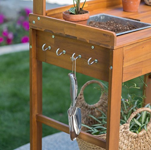Elegant Acacia Wood Garden Potting Bench Sink With Storage