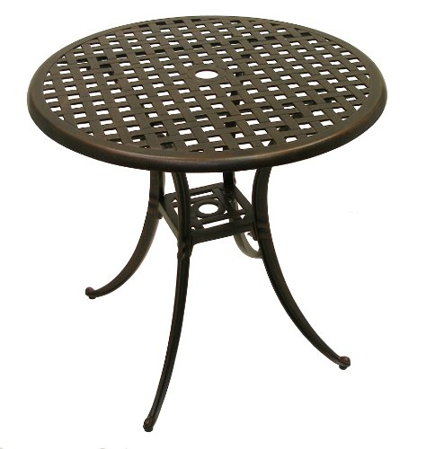 American-Trading-Company-Weave-Design-Powder-Coated-Solid-Cast-Aluminum-IndoorOutdoor-Table-0