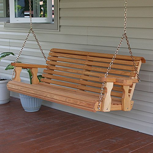 Amish Heavy Duty 800 Lb Roll Back 5ft Treated Porch Swing With Cupholders Cedar Stain Farm