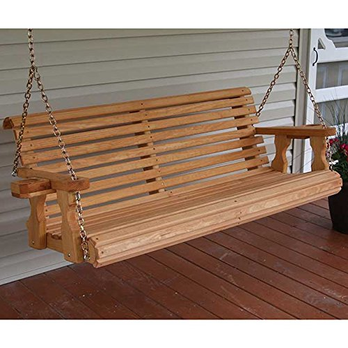 Amish Heavy Duty 800 Lb Roll Back 5ft Treated Porch Swing