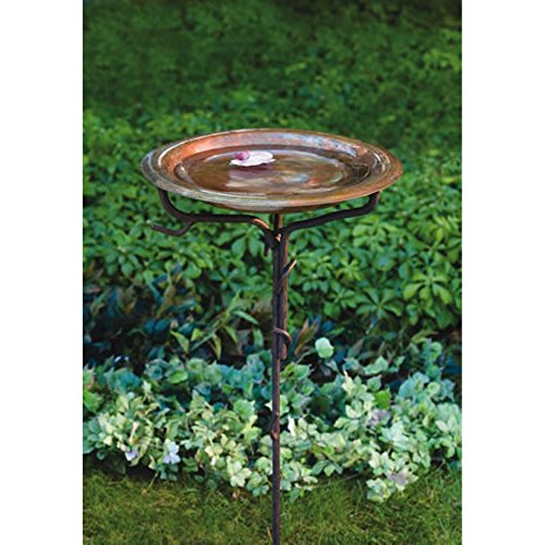 Ancient-Graffiti-Solid-Copper-Birdbath-With-Iron-Twig-Base-0
