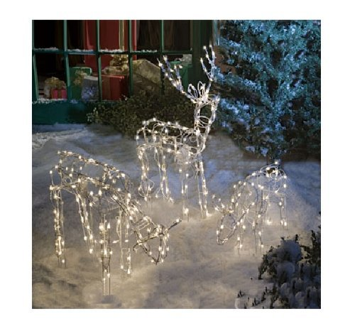 animated 3 piece lighted deer family christmas yard decoration set 250 clear lights 40 inch buck doe and 24 inch baby