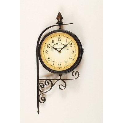 Ashton-Sutton-H1109-20F-Double-Sided-Bracket-Clock-and-Thermometer-0