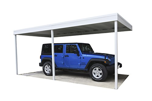 Attached-Patio-CoverCarport-10x20-Galvanized-Steel-and-Vinyl-Coating-Eggshell-FinishFlatroof-0-1